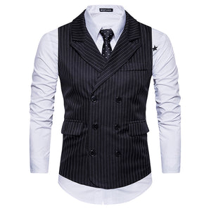Turndown Collar Double Breasted Belt Vertical Stripe Waistcoat 6735