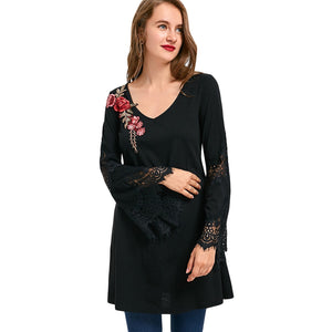 Flare Sleeve Embroidered Tunic Long Top 5094