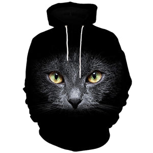 3D Cat Face Print Kangaroo Pocket Hoodie 7185