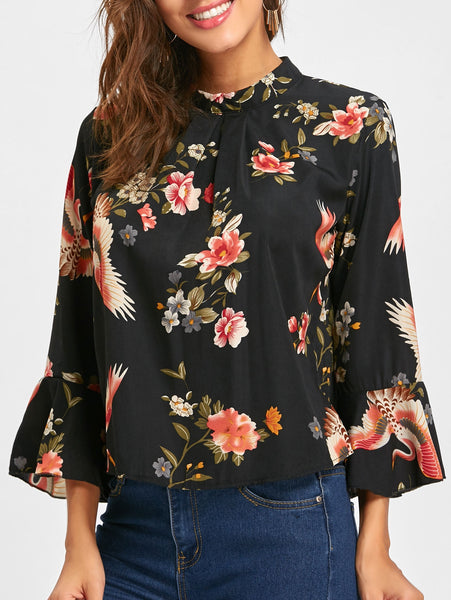 Flare Sleeve Floral Blouse 5024