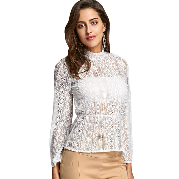 See Through Bell Sleeve Lace Peplum Blouse 4767