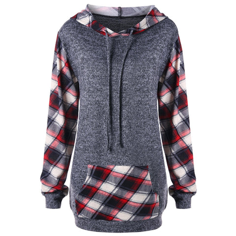 Plaid Kangaroo Pocket Tunic Hoodie 1319