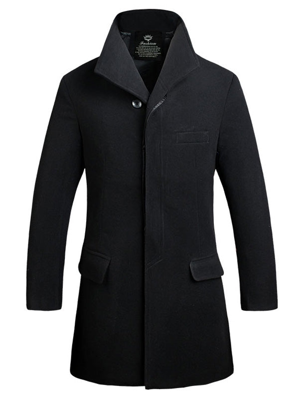 Cover Placket Single Breasted Longline Woolen Coat 8520