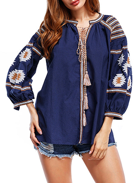 Tribal Print Tassels Blouse 9491
