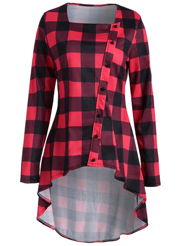 Plaid High Low Button Embellished T-shirt 3942