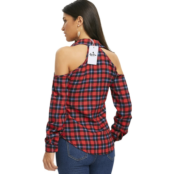 Plaid Open Shoulder Button Up Shirt 9399