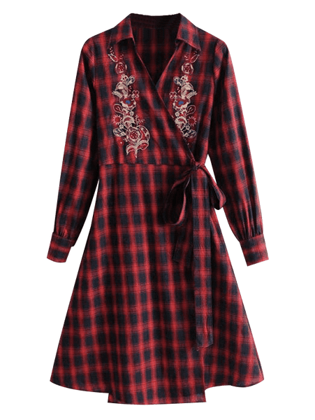Floral Embroidered Plaid Wrap Dress 2464