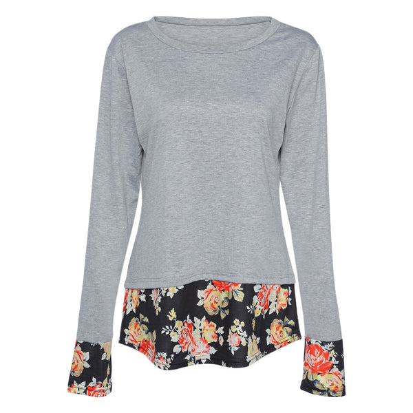 Round Collar Long Sleeve Spliced Floral Print Women T-shirt 4162