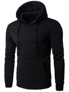 Kangaroo Pocket Drawstring Flocking Pullover Hoodie 7490