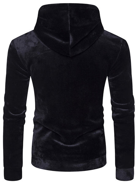 Kangaroo Pocket Velvet Hoodie with Sleeve Pocket 4410
