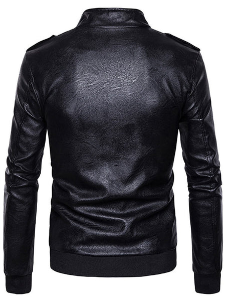 Zip Up Epaulet Faux Leather Bomber Jacket 6523
