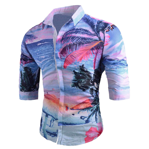 Tropical Palm Tree Print Casual Hawaiian Shirt 5525
