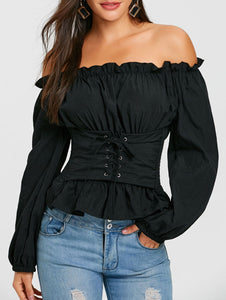 Off The Shoulder Lace Up Smocked Blouse 1869