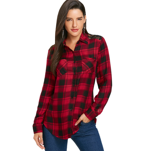 Lace Panel Tartan Plaid Long Sleeve Shirt 8387