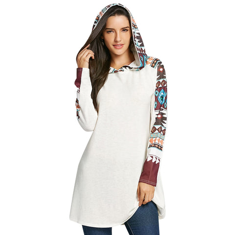 Tribal Totem Print Hooded Knit Top 3650