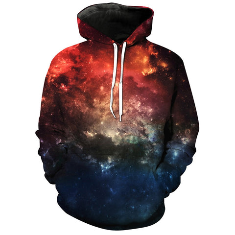 Men's Hooded 3D Galaxy Print Drawstring Pullover Hoodie