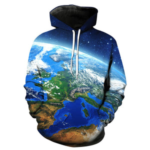 3D Earth Galaxy Print Pullover Hoodie 5729