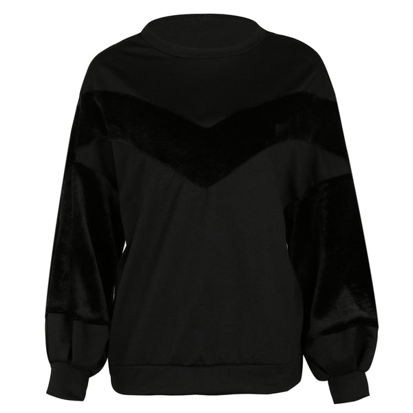 Round Collar Lantern Sleeve Fleece Spliced Women Sweatshirt 6640