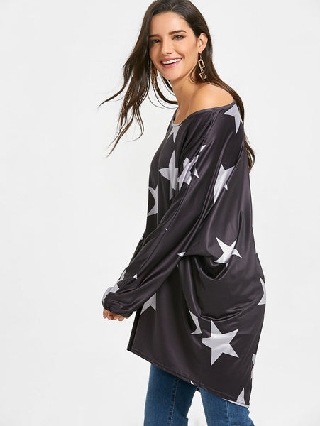Oversized Star Print High Low Tunic T-shirt 3634
