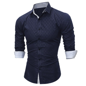 Turndown Collar Rhomboids Pattern Shirt 4675