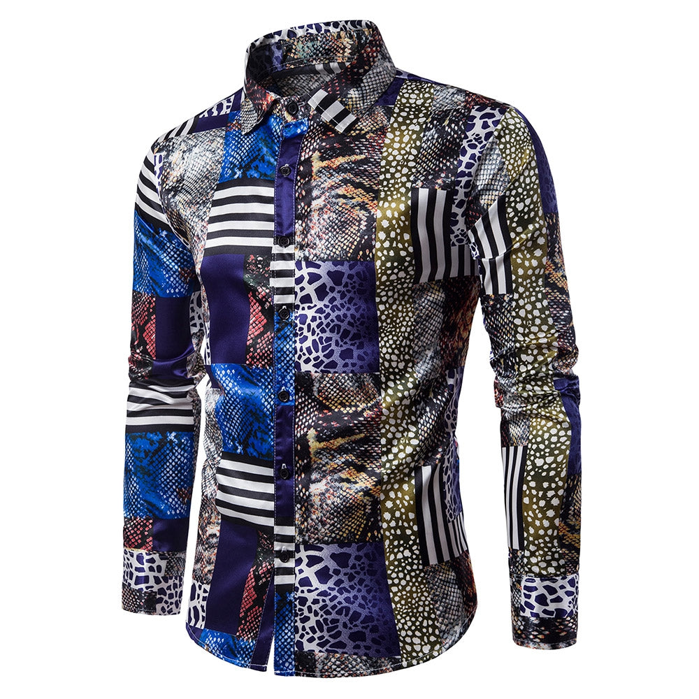 Turndown Collar 3D Snakeskin Pattern Print Panel Shirt 5669