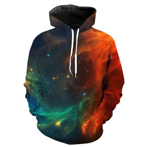 3D Ombre Galaxy Print Pullover Hoodie 2444