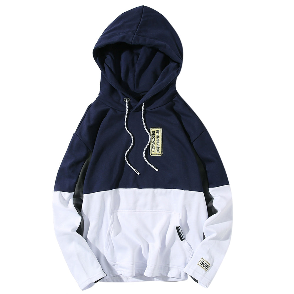 Hooded Color Block Embroidered Appliques Pullover Hoodie 8445