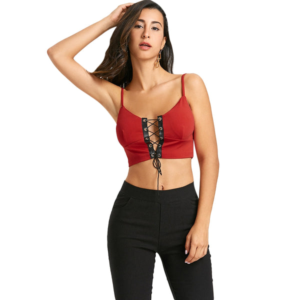 Two Tone Lace Up Camisole 2833