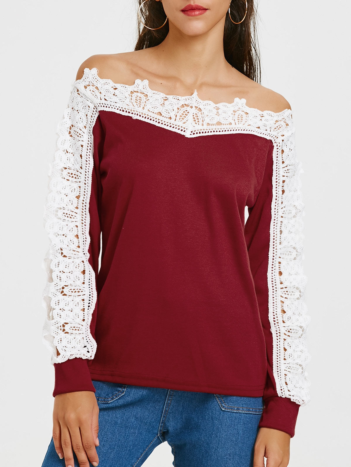 Long Sleeve Openwork Lace Insert T-shirt 5214