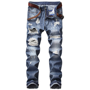 Men's Zipper Fly Bleached Effect Straight Leg Distressed Jeans