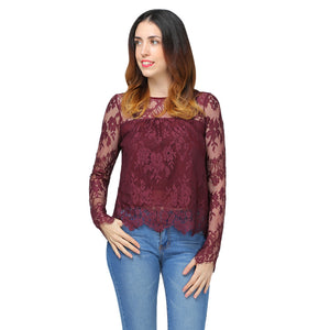 Lace Scalloped See-Through Blouse 9777