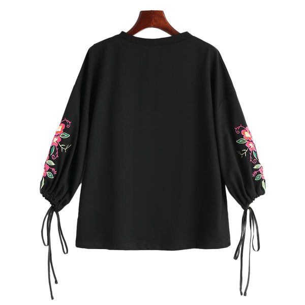Floral Embroidered Buttoned Drawstring Sleeve Blouse 1854