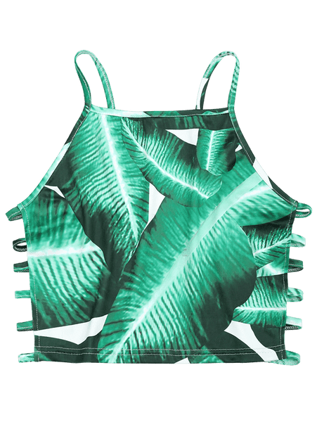 Ladder Cut Out Leaves Print Cami Top 8207