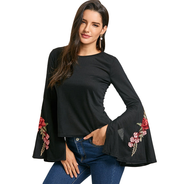 Bell Sleeve Embroidered T-shirt 9018