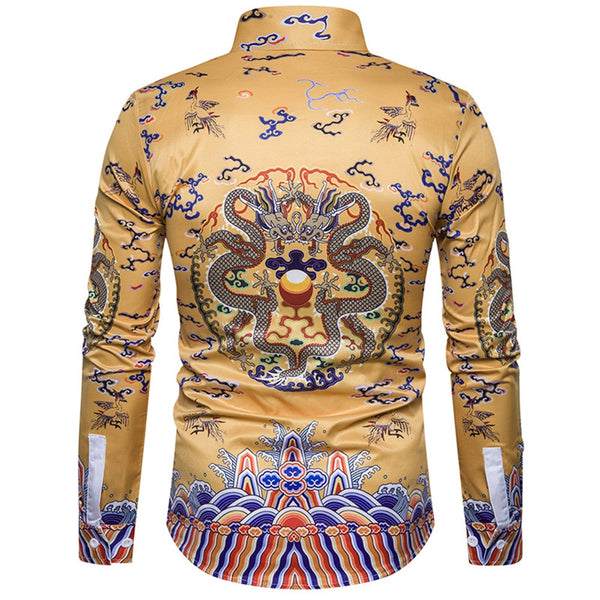 Chinoiserie Dragons Print Long Sleeve Shirt 7138