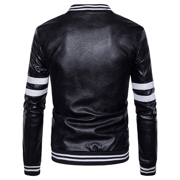 Stripe Zip Up Faux Leather Baseball Jacket 9070