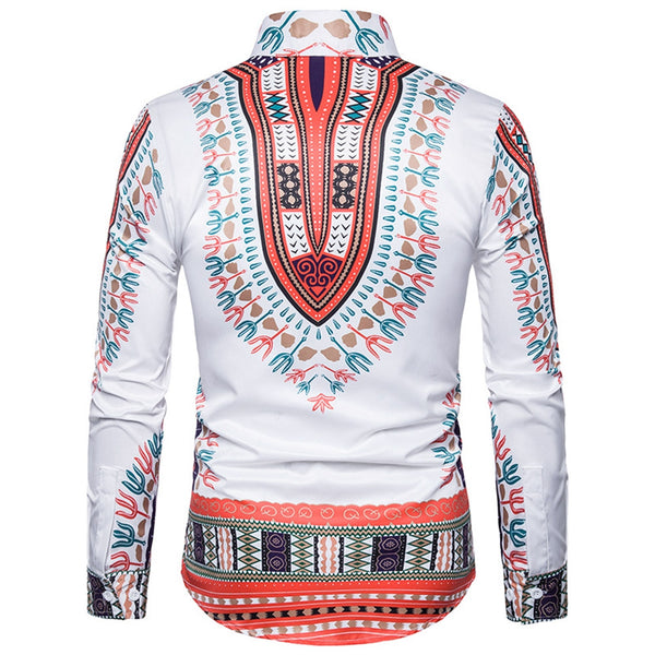 Ethnic Style Geometric Print Long Sleeve Shirt 2539