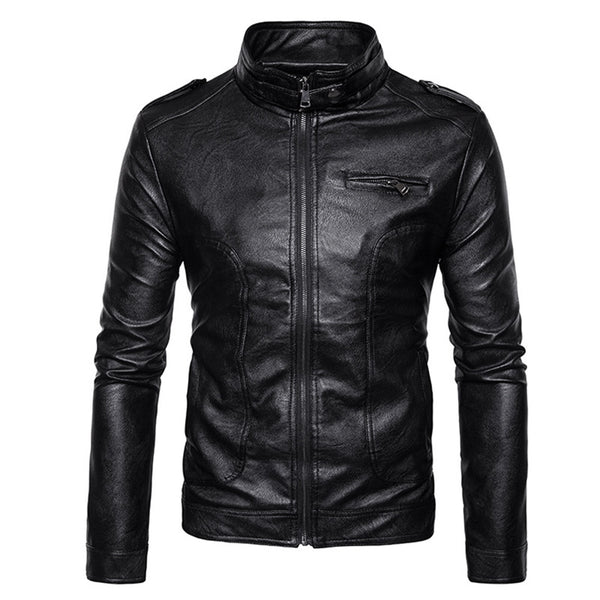 Stand Collar Epaulet Faux Leather Zip Up Jacket 9811