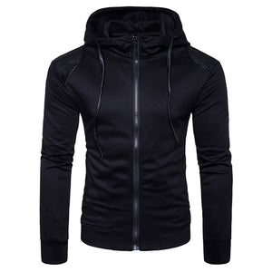 Hooded PU Leather Panel Zip Up Hoodie 3862