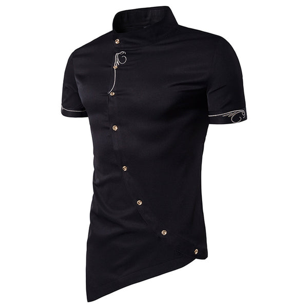 Mandarin Collar Short Sleeve Embroidered Novelty Shirt 3080