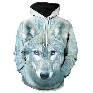Men's 3D Wolf Print Pullover Fashion Drawstring Hoodie