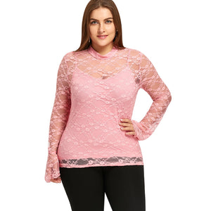 Plus Size Lace Blouse with Cami Top 9300