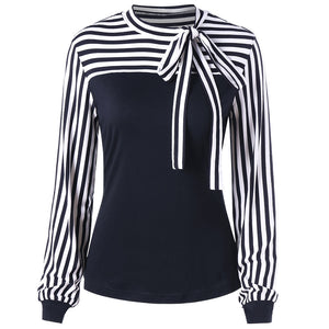 Bowknot Striped Long Sleeve Top 3526