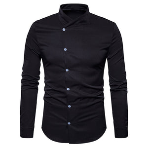 Oblique Button Up Stand Collar Shirt 4233