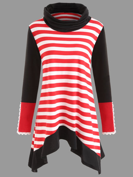 Turtleneck Asymmetrical Striped Tunic T-shirt 2585