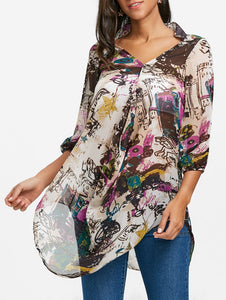 Sheer Printed Chiffon Tunic Blouse 3872