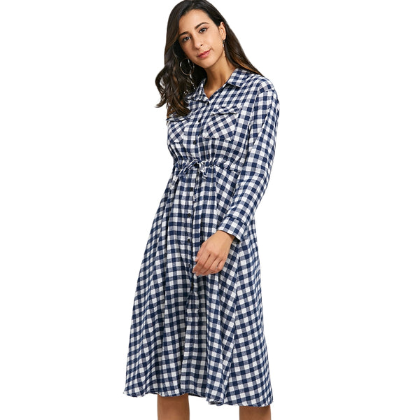 Drawstring Plaid Midi Shirt Dress 2905