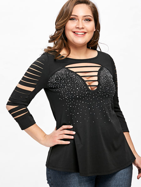 Plus Size Ladder Shredding T-shirt 8833