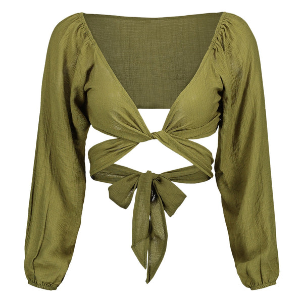 Plunging Neck Self Tie Crop Blouse 4236