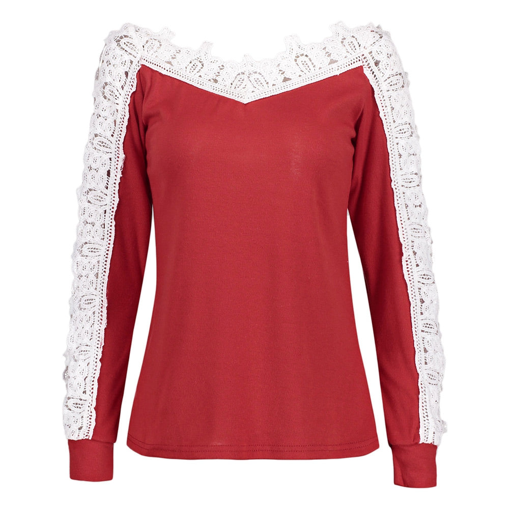 Hollow Out Crochet Sleeve V-neck Blouse 3520
